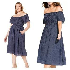 City Chic Blue Stripe Smock Off Shoulder Dress